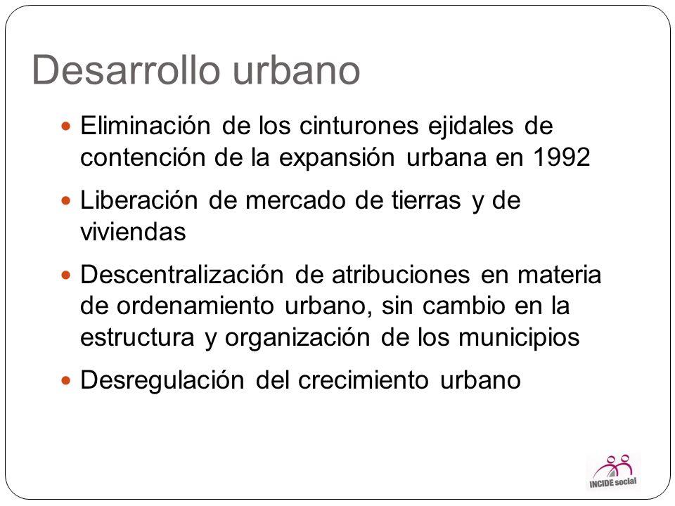 Desarrollo urbano Eliminación de los cinturones ejidales de contención de la expansión urbana en 1992.
