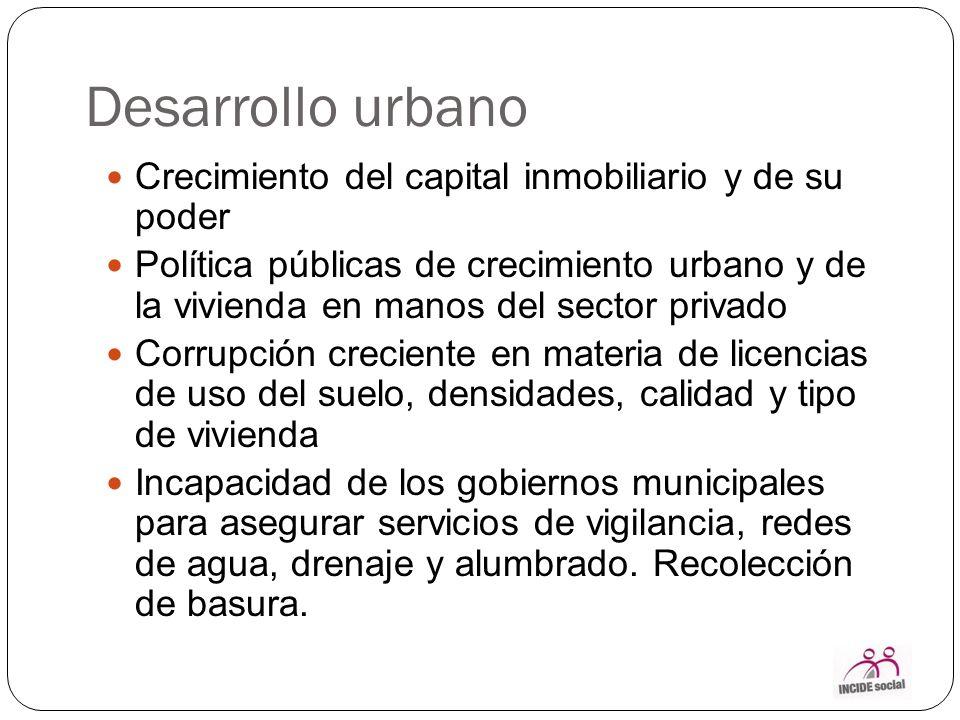 Desarrollo urbano Crecimiento del capital inmobiliario y de su poder