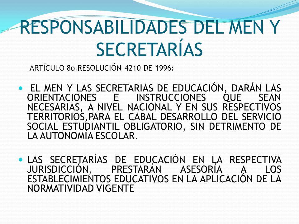RESPONSABILIDADES DEL MEN Y SECRETARÍAS