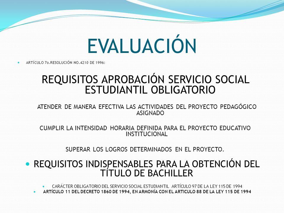 EVALUACIÓN ARTÍCULO 7o.RESOLUCIÓN NO.4210 DE 1996: REQUISITOS APROBACIÓN SERVICIO SOCIAL ESTUDIANTIL OBLIGATORIO.
