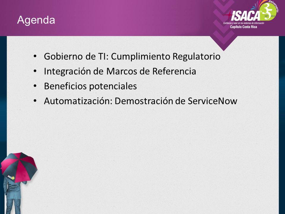 Agenda Gobierno de TI: Cumplimiento Regulatorio