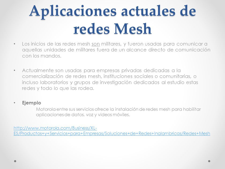 Aplicaciones actuales de redes Mesh