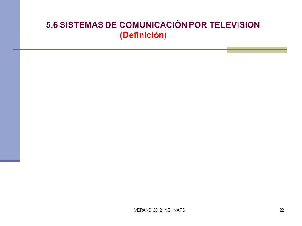 5.6 SISTEMAS DE COMUNICACIÓN POR TELEVISION (Definición)