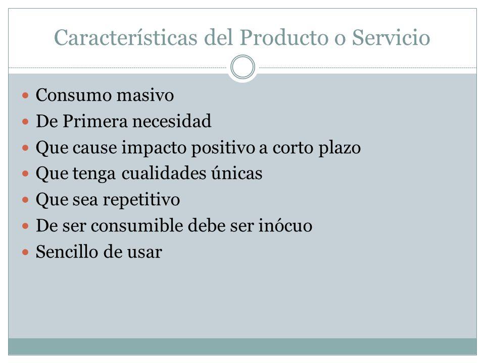 Características del Producto o Servicio