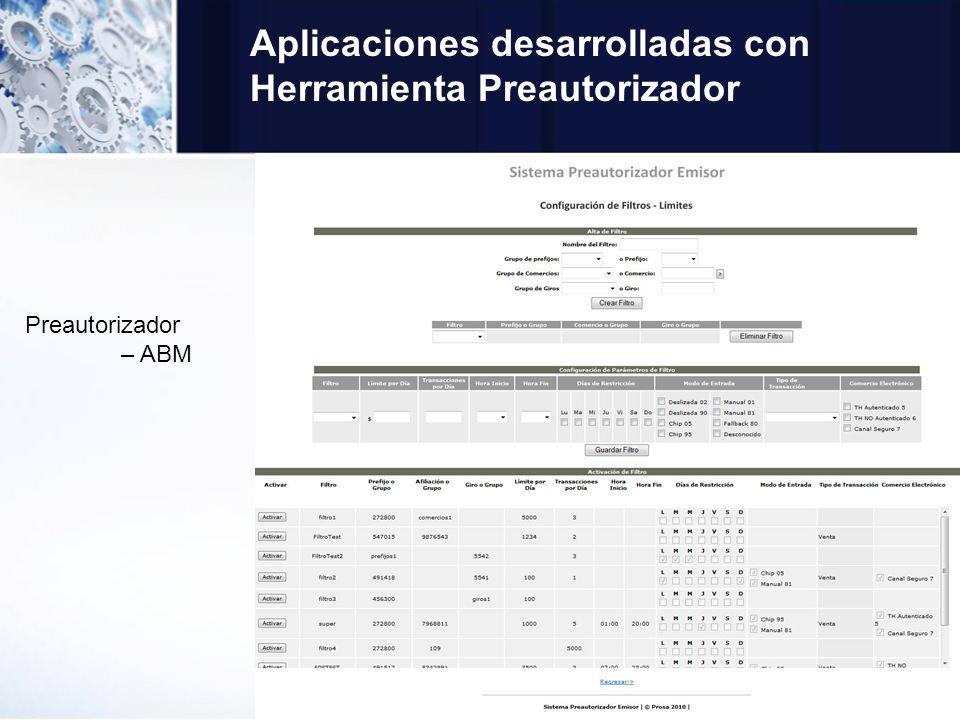Aplicaciones desarrolladas con Herramienta Preautorizador