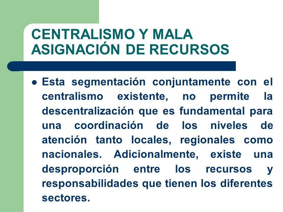 CENTRALISMO Y MALA ASIGNACIÓN DE RECURSOS