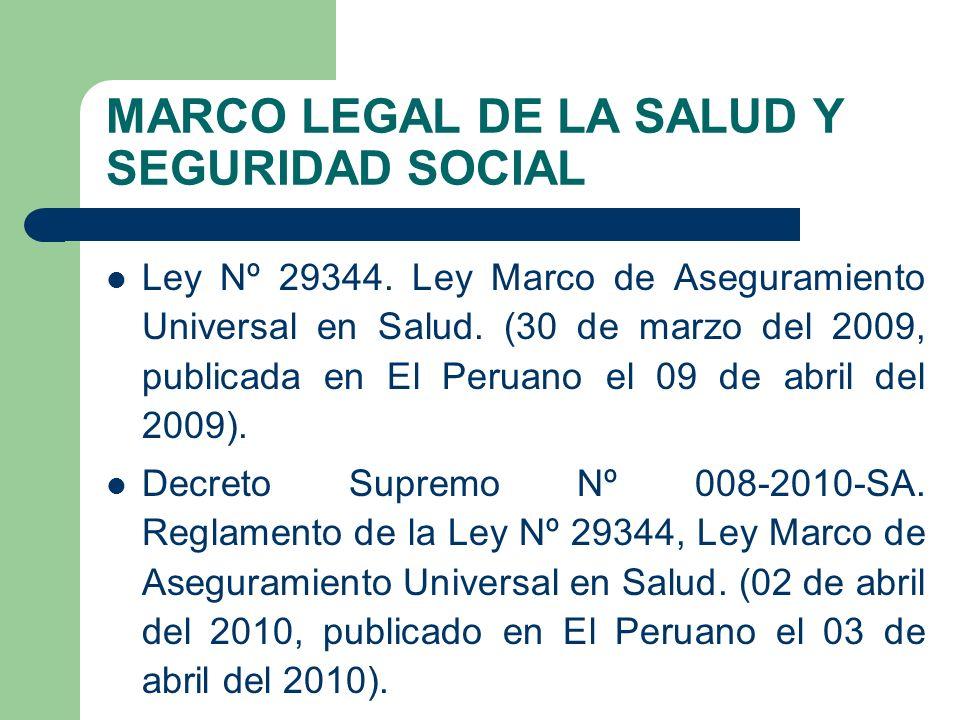 MARCO LEGAL DE LA SALUD Y SEGURIDAD SOCIAL