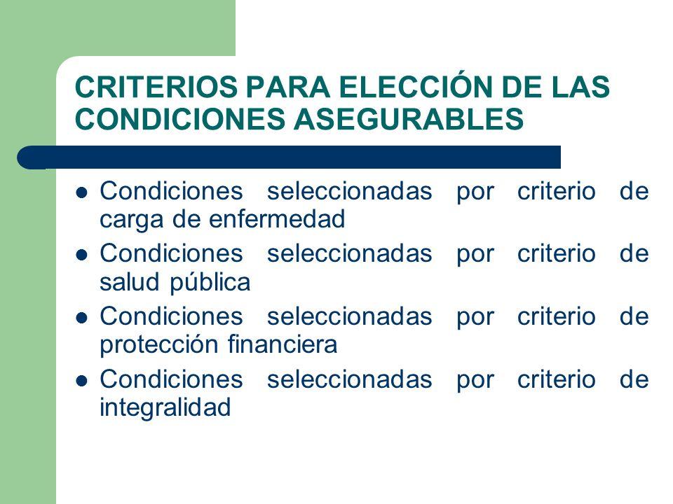 CRITERIOS PARA ELECCIÓN DE LAS CONDICIONES ASEGURABLES