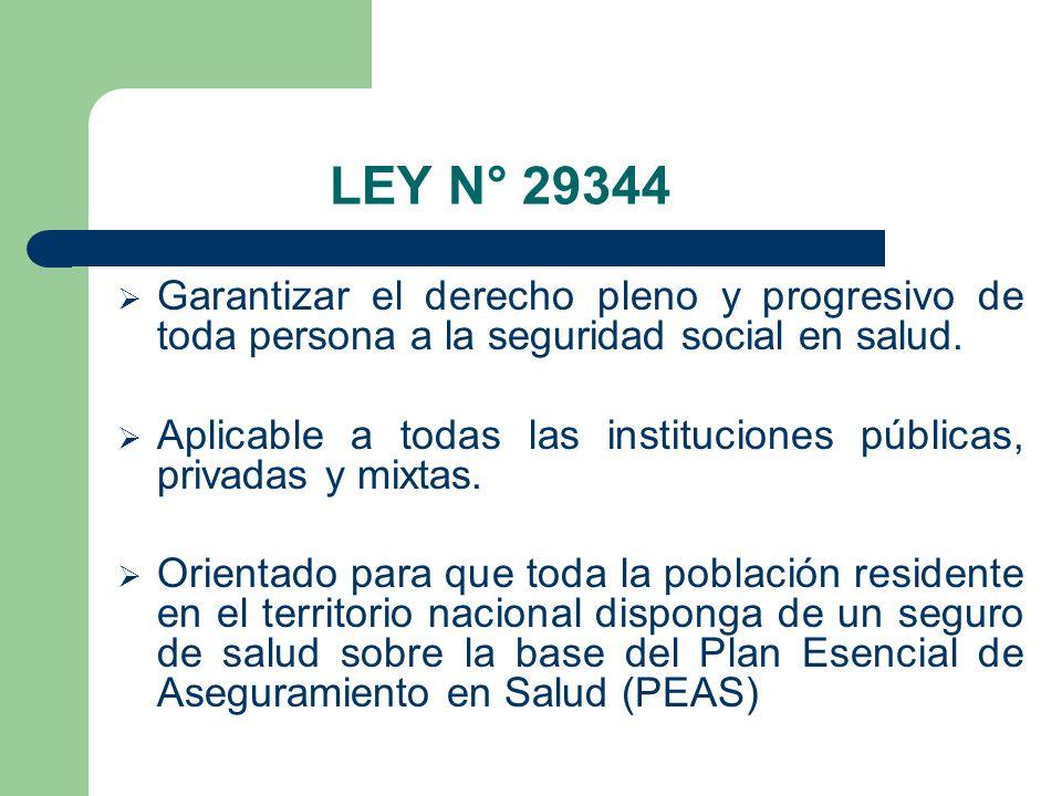 LEY N° 29344 Garantizar el derecho pleno y progresivo de toda persona a la seguridad social en salud.