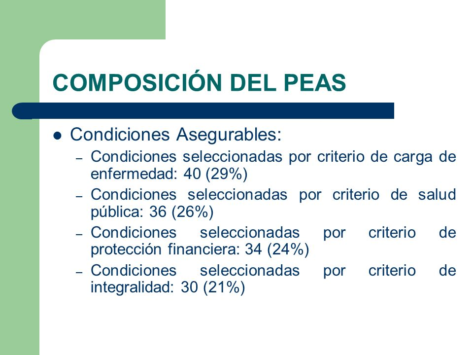 COMPOSICIÓN DEL PEAS Condiciones Asegurables: