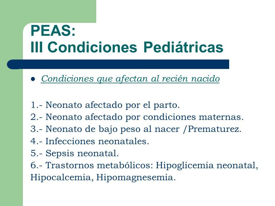 PEAS: III Condiciones Pediátricas