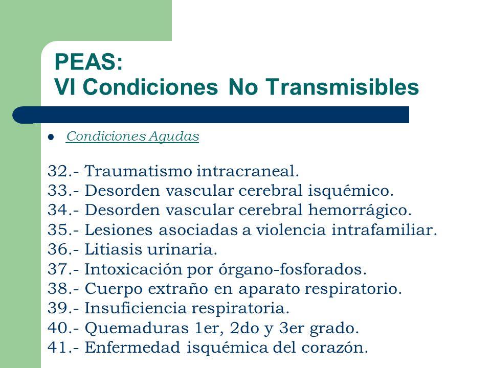 PEAS: VI Condiciones No Transmisibles