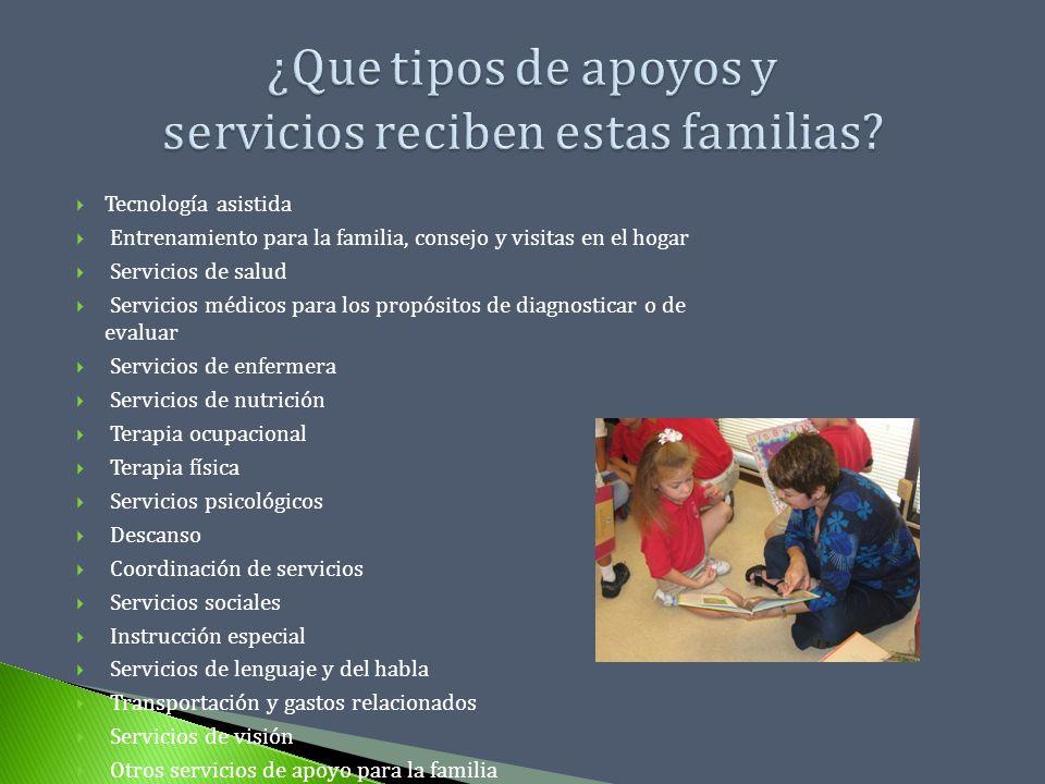 ¿Que tipos de apoyos y servicios reciben estas familias