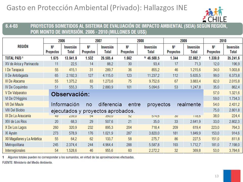 Gasto en Protección Ambiental (Privado): Hallazgos INE