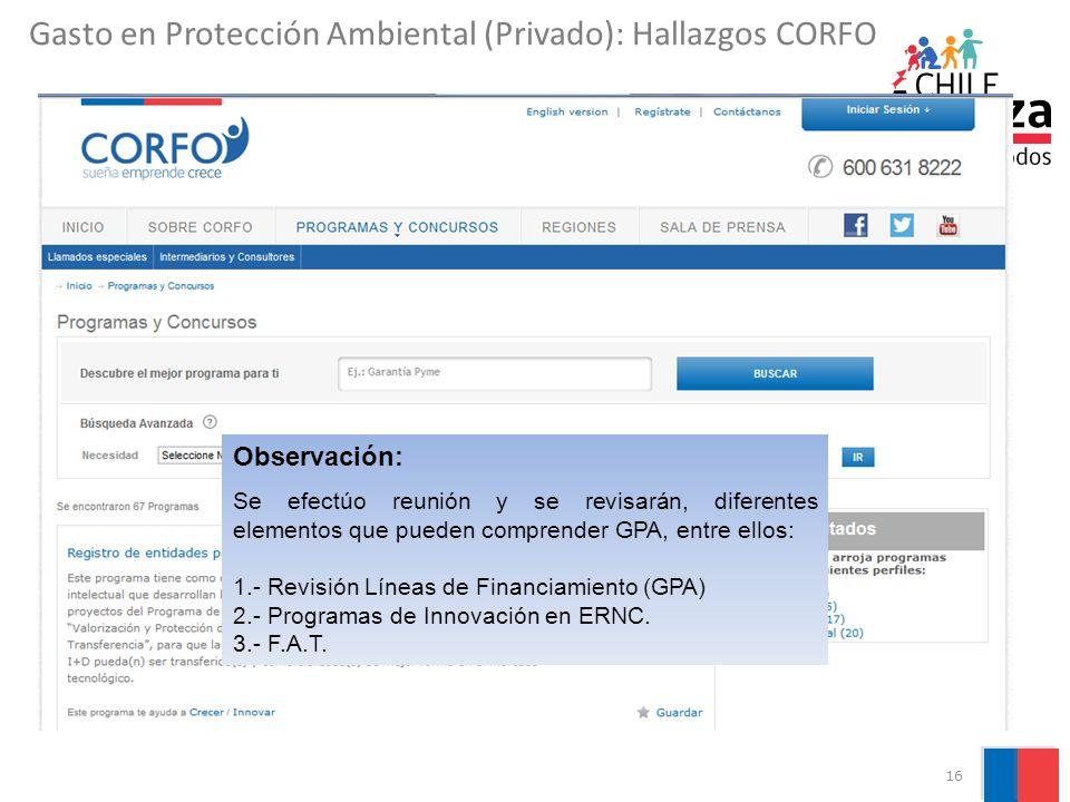 Gasto en Protección Ambiental (Privado): Hallazgos CORFO