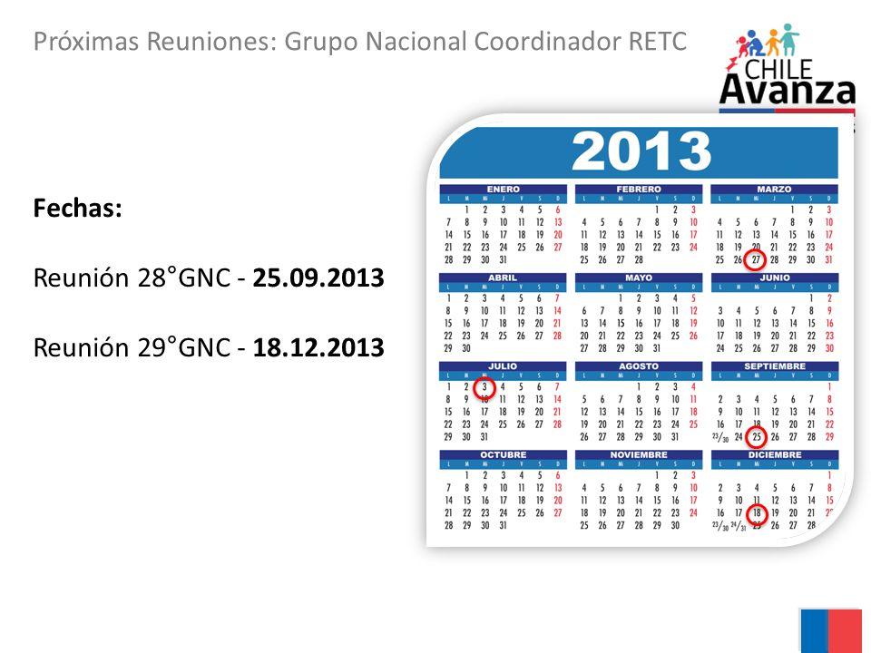 Próximas Reuniones: Grupo Nacional Coordinador RETC