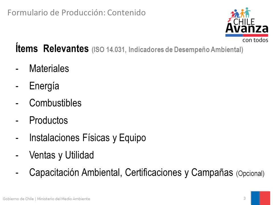 Ítems Relevantes (ISO 14.031, Indicadores de Desempeño Ambiental)