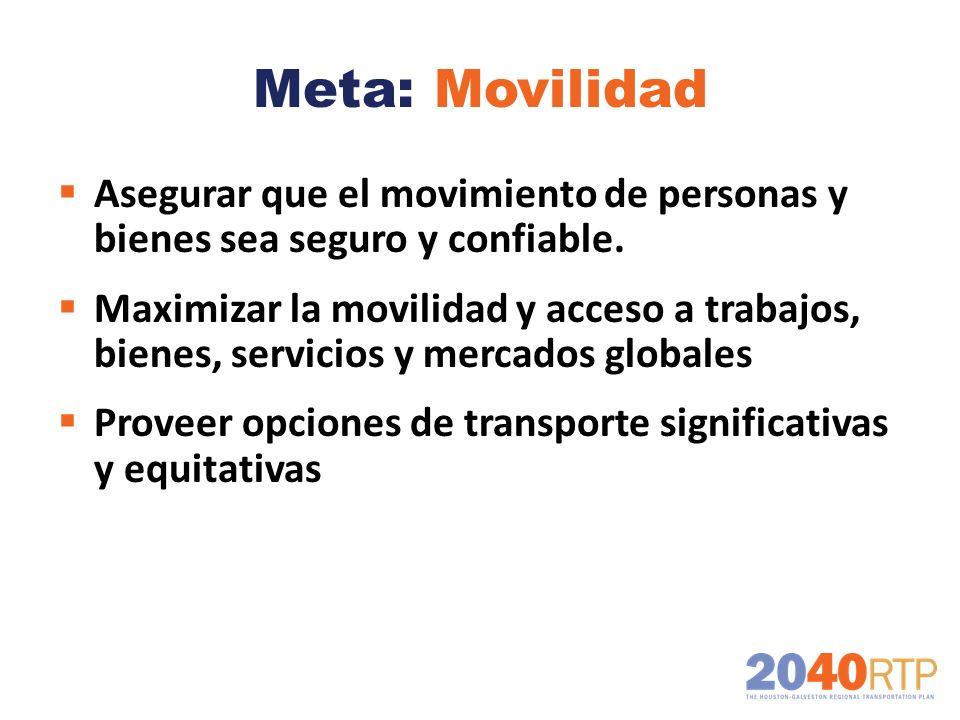 Meta: Movilidad Asegurar que el movimiento de personas y bienes sea seguro y confiable.