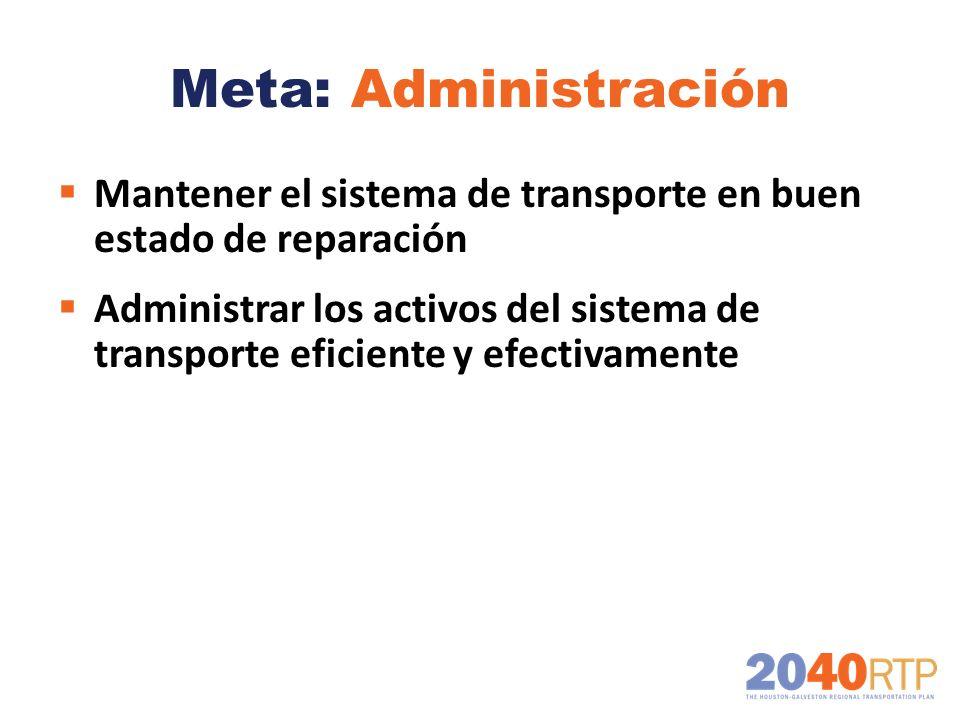 Meta: Administración Mantener el sistema de transporte en buen estado de reparación.