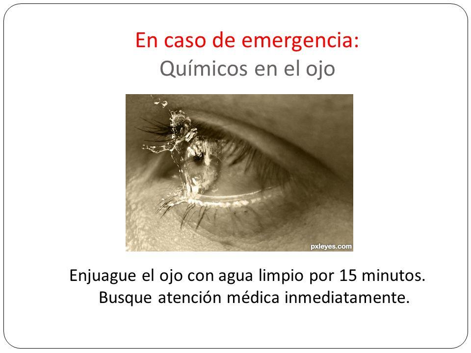 En caso de emergencia: Químicos en el ojo