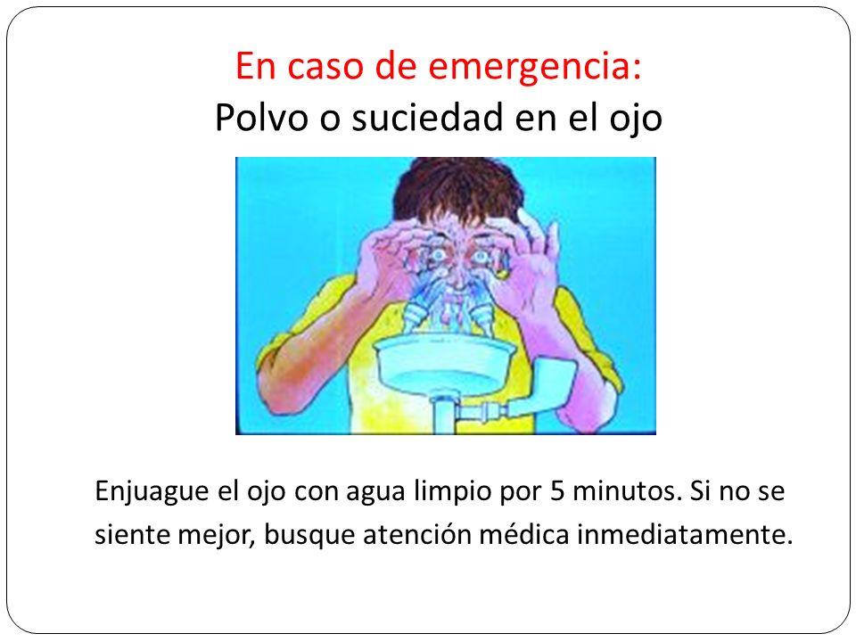 En caso de emergencia: Polvo o suciedad en el ojo