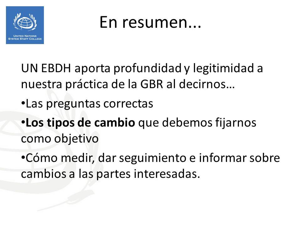 En resumen... UN EBDH aporta profundidad y legitimidad a nuestra práctica de la GBR al decirnos… Las preguntas correctas.