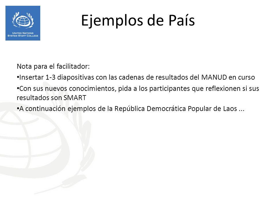 Ejemplos de País Nota para el facilitador: