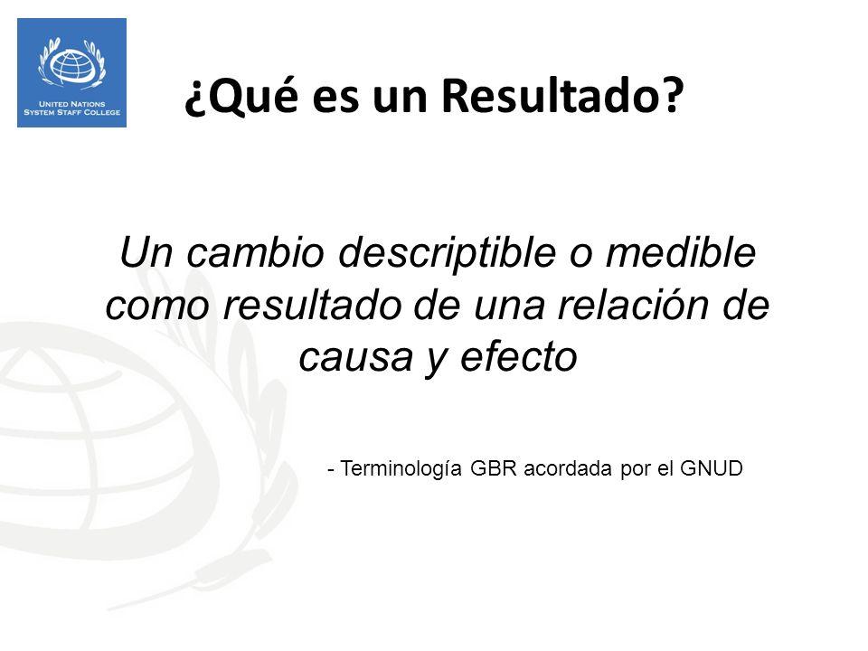 ¿Qué es un Resultado Un cambio descriptible o medible como resultado de una relación de causa y efecto.