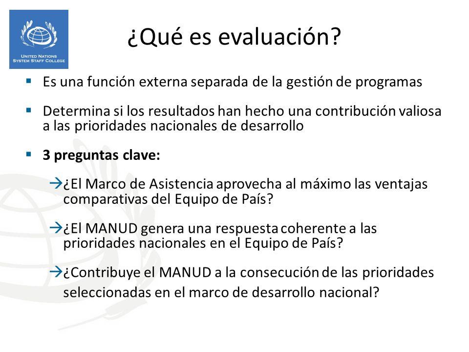 ¿Qué es evaluación Es una función externa separada de la gestión de programas.