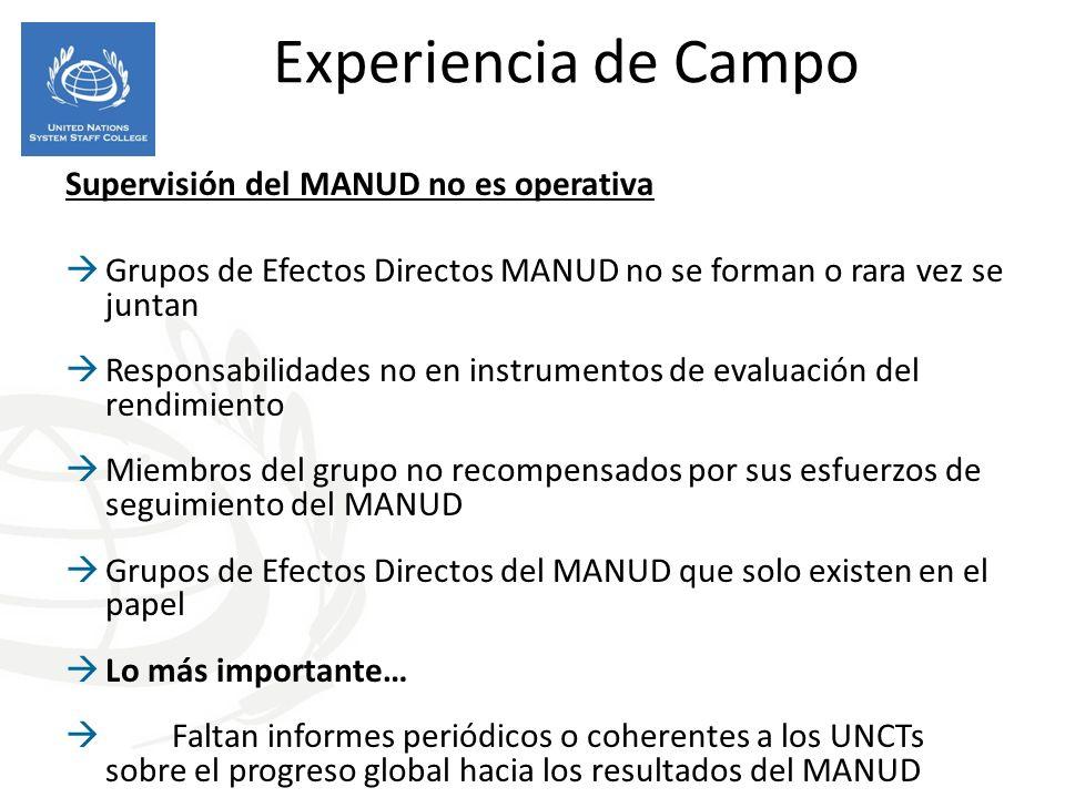 Experiencia de Campo Supervisión del MANUD no es operativa