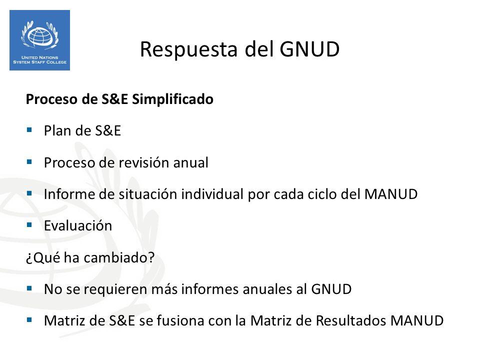 Respuesta del GNUD Proceso de S&E Simplificado Plan de S&E