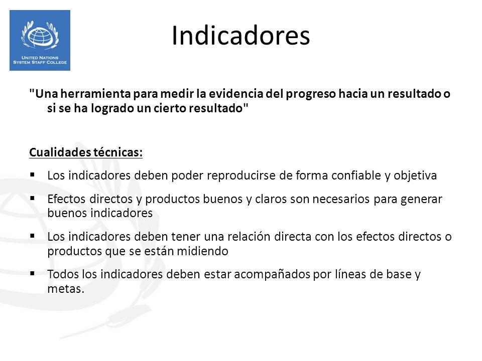 Indicadores Una herramienta para medir la evidencia del progreso hacia un resultado o si se ha logrado un cierto resultado