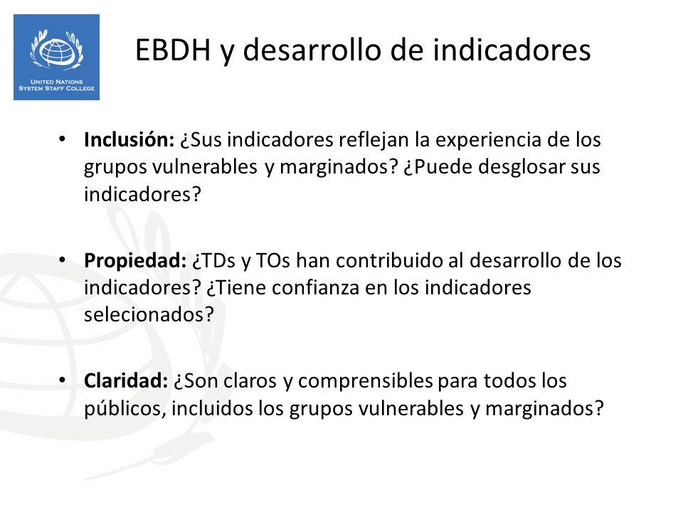 EBDH y desarrollo de indicadores