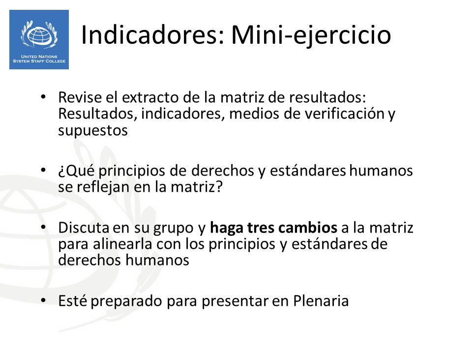 Indicadores: Mini-ejercicio