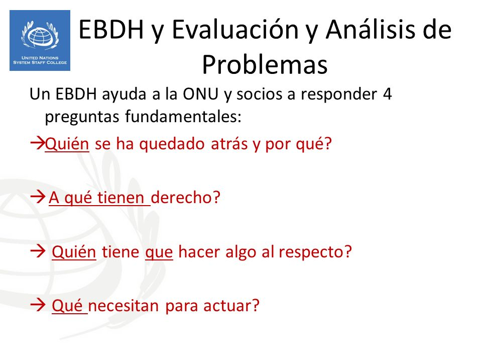 EBDH y Evaluación y Análisis de Problemas
