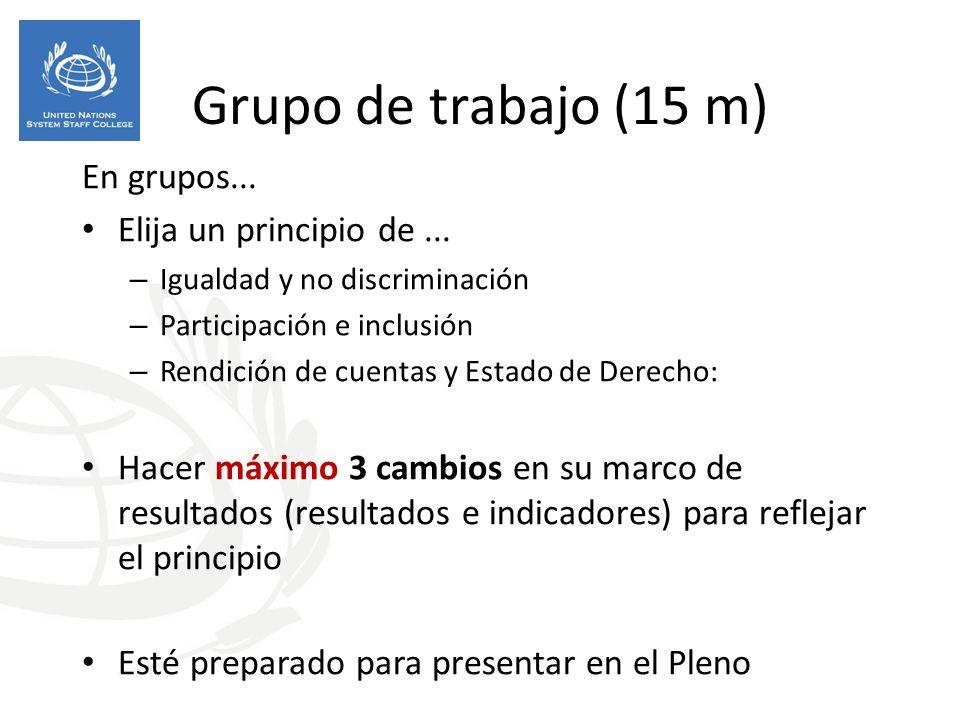 Grupo de trabajo (15 m) En grupos... Elija un principio de ...