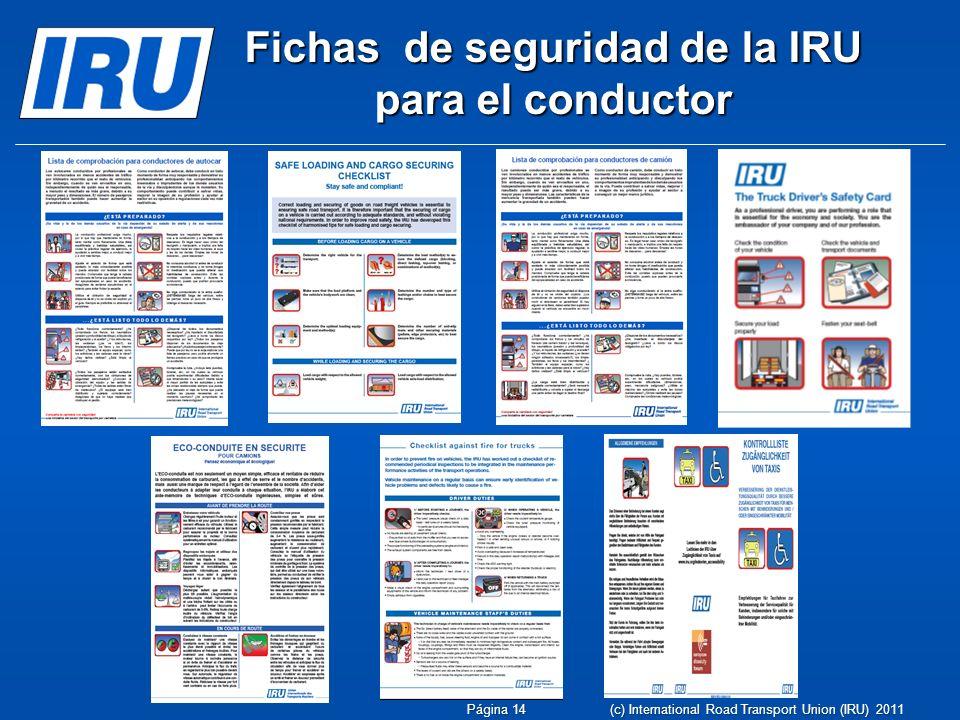 Fichas de seguridad de la IRU para el conductor