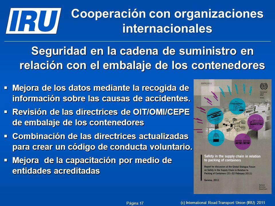 Cooperación con organizaciones internacionales