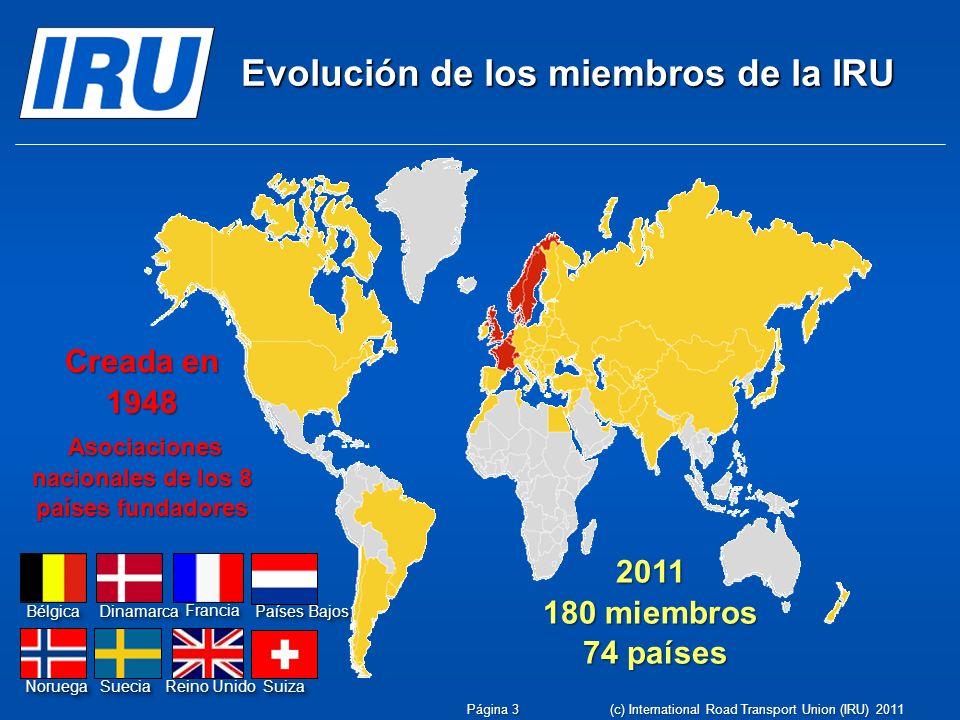 Evolución de los miembros de la IRU