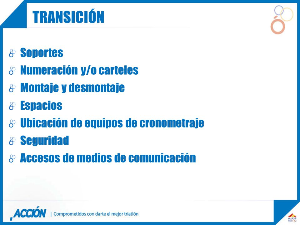transición TRANSICION Soportes Numeración y/o carteles