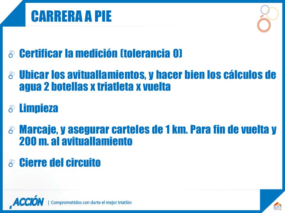 Carrera a pie Certificar la medición (tolerancia 0)