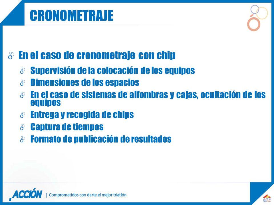 cronometraje En el caso de cronometraje con chip