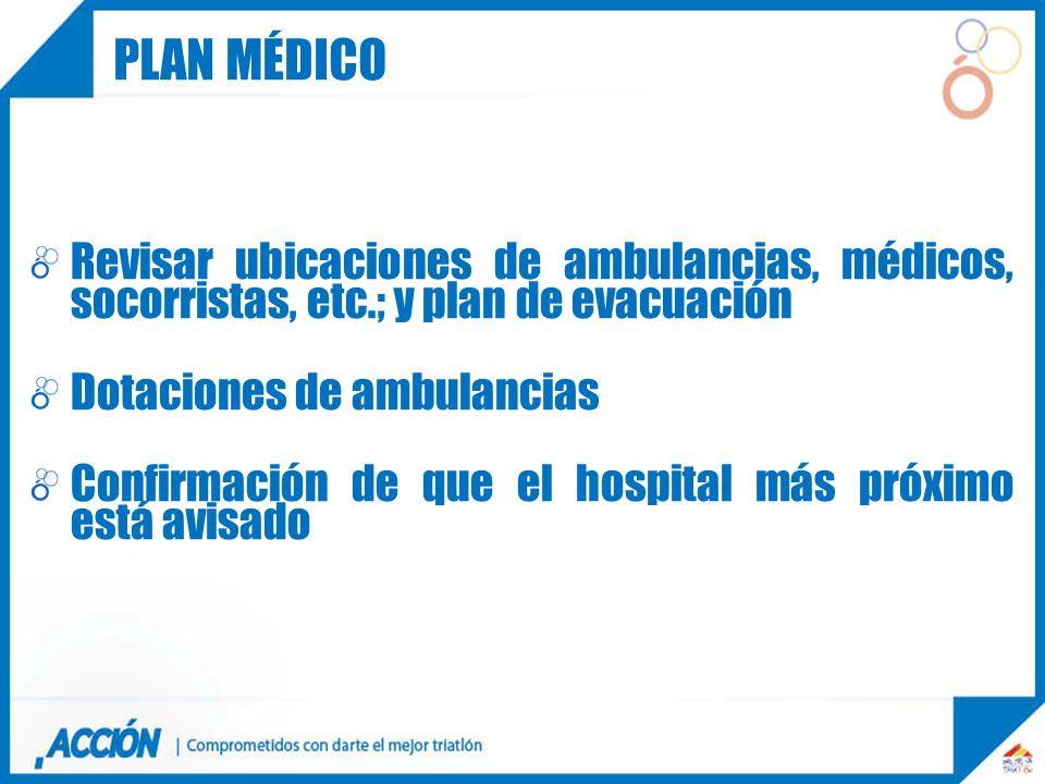 Plan médicoRevisar ubicaciones de ambulancias, médicos, socorristas, etc.; y plan de evacuación. Dotaciones de ambulancias.