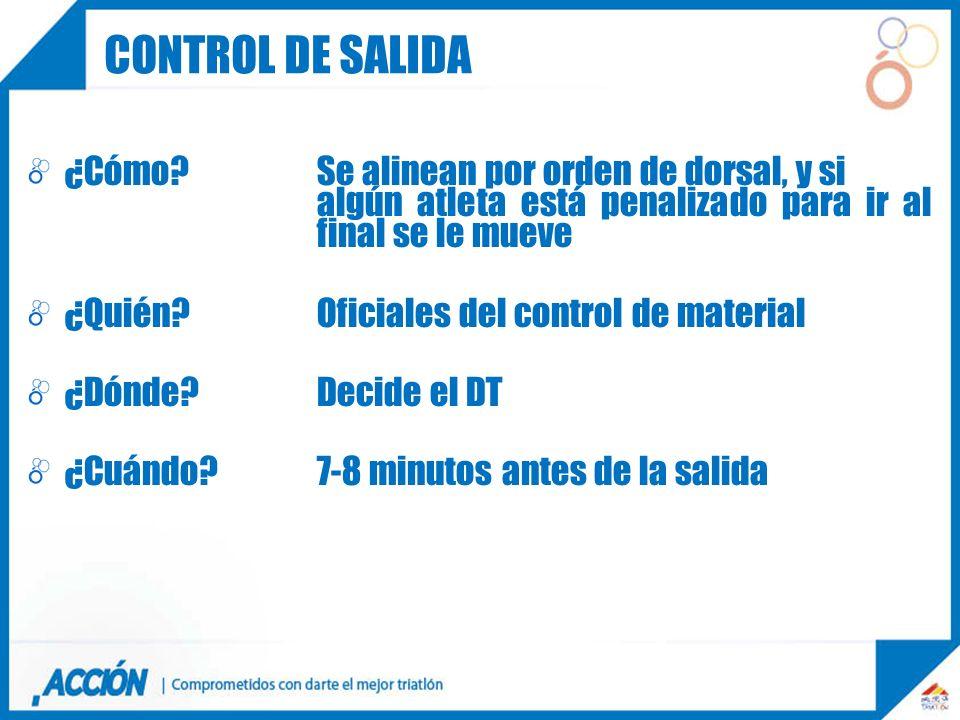 Control de salida ¿Cómo Se alinean por orden de dorsal, y si algún atleta está penalizado para ir al final se le mueve.