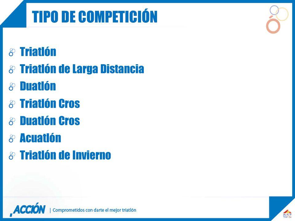 Tipo de competición Triatlón Triatlón de Larga Distancia Duatlón