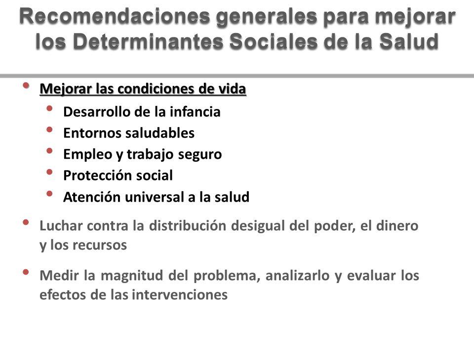 Recomendaciones generales para mejorar los Determinantes Sociales de la Salud