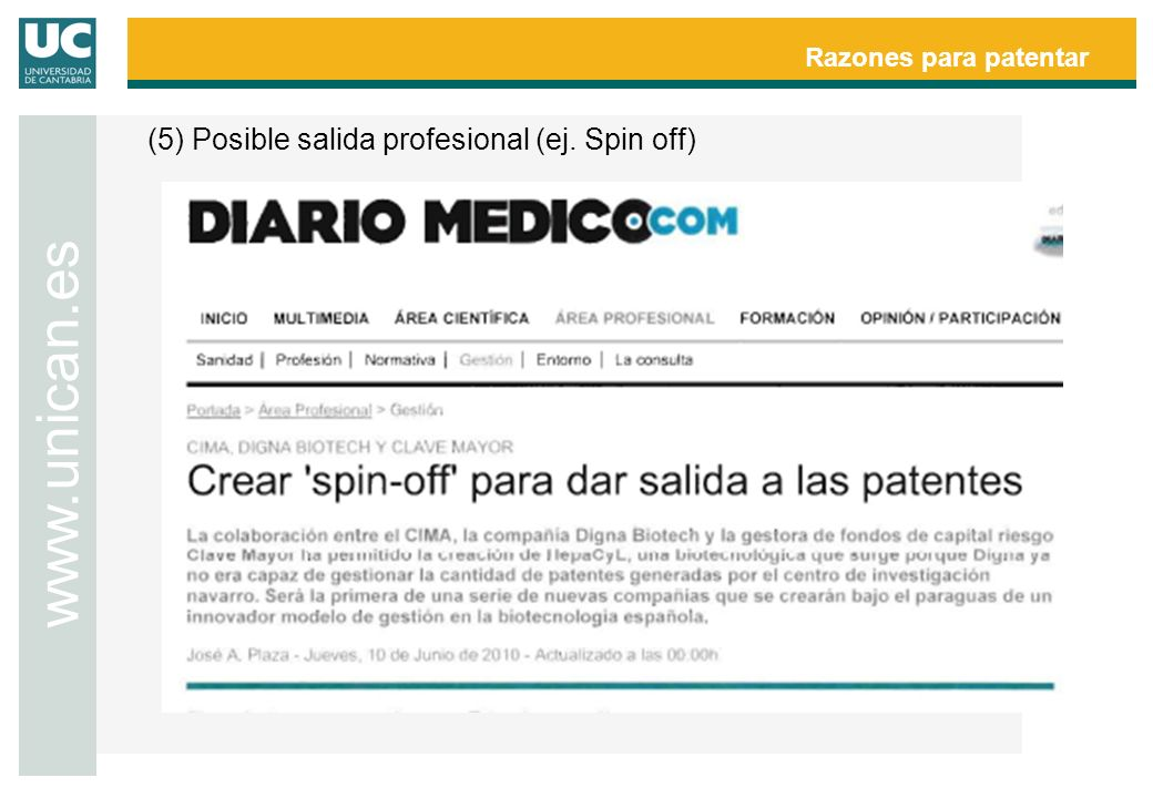 www.unican.es Razones para patentar
