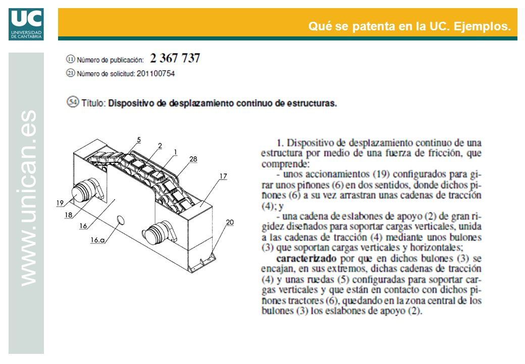 Qué se patenta en la UC. Ejemplos.