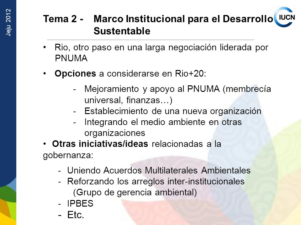 Tema 2 - Marco Institucional para el Desarrollo Sustentable