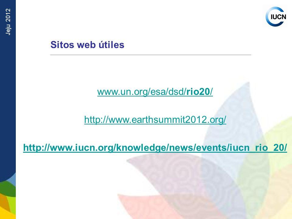 Sitos web útiles www.un.org/esa/dsd/rio20/ http://www.earthsummit2012.org/ http://www.iucn.org/knowledge/news/events/iucn_rio_20/